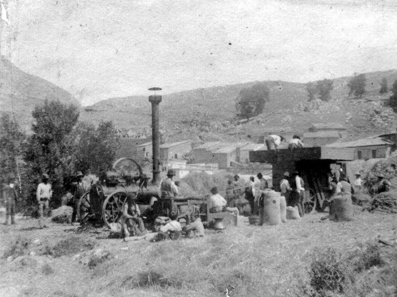 Foto_19: Museo di Riofreddo - Foto d'epoca del lavoro nei campi con locomobile