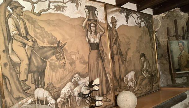 Museo di Cervara - cartoni dell'affresco di Giuseppe Ciotti sui pastori transumanti
